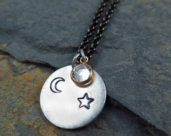 Star and Moon Pendant, Star Necklace, Moon Necklace, Hand Stamped Jewelry, Crystal Necklace, Celestial Gift