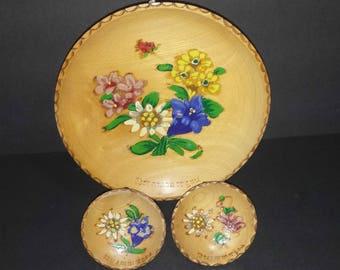 Vintage Oberammergau Wooden Plates Set of 3 / Oberammergau Souvenir Decorative Plates / MCM Kitschy Oberammergau Souvenir