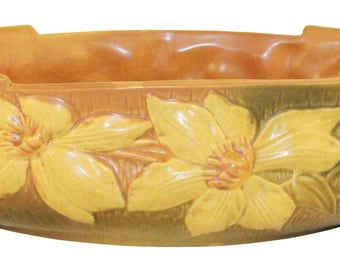 Roseville Pottery Clematis Brown Bowl 461-14