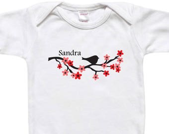 Personalized Baby Bodysuit - Toddler Shirt - Baby Shower Gift - Bird on Cherry Blossom Branch Black