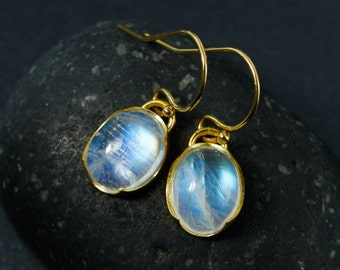 Oval Rainbow Moonstone Earrings, Moonstone Dangle Earrings, Choose Your Setting