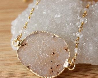 50 OFF SALE Peach Druzy Necklace - Connector Druzy Pendant - Crystal Quartz Chain