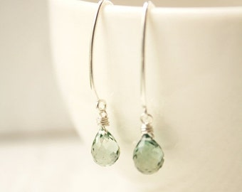 CHRISTMAS SALE Teal Quartz Earrings - Sterling Silver filled - Sage Green