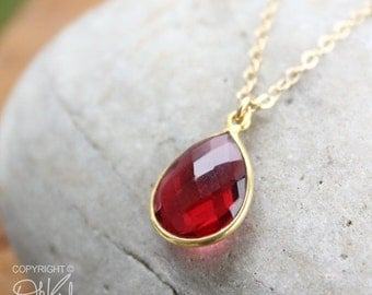 CHRISTMAS SALE Gold Red Ruby Quartz Teardrop Necklace - 14K Gold Fill - Cranberry