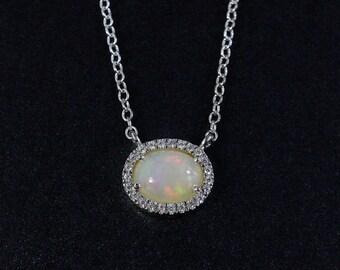 VALENTINE SALE Silver Australian Opal Necklace - Pave Diamonds - October Birthstone