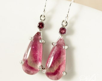 Pink Bi Color Tourmaline Teardrop Dangle Earrings – 925 Sterling Silver