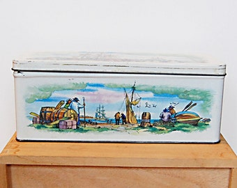 Vintage Tin Box Ship Harbor Illustraion Sailing Pirate Schooner.
