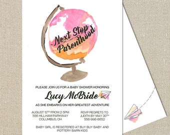 Adventure Awaits - Watercolor Globe - Destination Baby Girl Shower Invitation - Digital Printable File - Double-sided