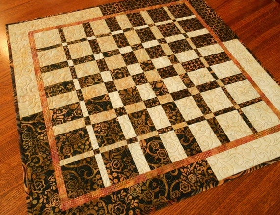 Modern Quilted Table Topper in Black Gold Rust and Cream Batik, Convergence Quilt, Square Table Topper Mat, Neutral, Quilted Wall Hanging