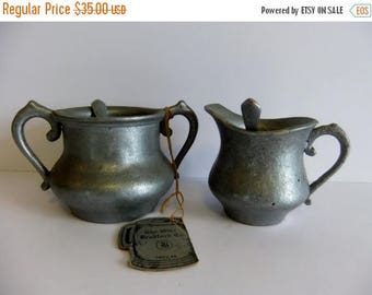 ON SALE The Olde Bradford Co Metal Sugar and Creamer Pewter