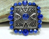 Sapphire Rhinestone Art Deco snap charm - Chunk charms - Fits Ginger Snaps, Magnolia Vine, Noosa - 18-20mm - Snap buttons