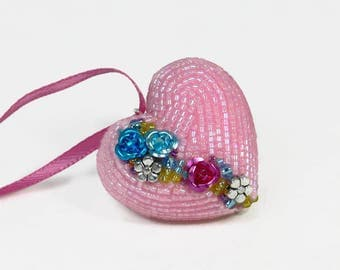 Heart Ornament Beaded Pink Floral Mother's Day Hostess Housewarming Gift READY TO SHIP