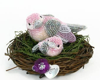 Mother's Day Mommy and Baby Bird Figurines In Nest Beaded Pink Baby Shower Gift Baby Girl *READY TO SHIP