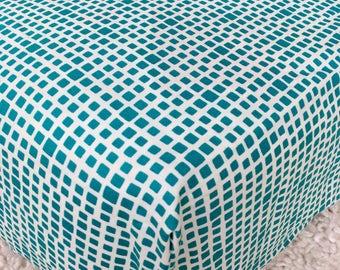 Teal Cotton Crib Sheet, Turquoise Crib Sheet, Fitted Crib Sheet, Sheet for Baby, Crib Sheet for Baby Boy or Girl, Standard Crib Sheet