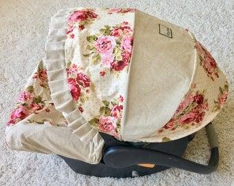 Rambling Roses Car Seat Cover, Linen Baby Car Seat Cover, Shabby Roses Car Seat Cover, Infant Car Seat Covers, Floral Car Seat Cover