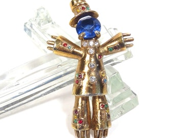 Goldtone Scarecrow Brooch Vintage 1950s Kitschy Hobo Man Costume Jewelry Figural Rhinestone Broach