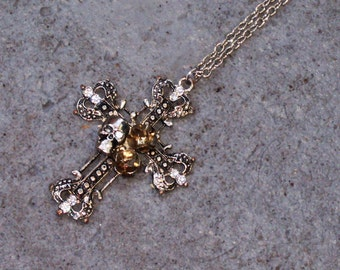 Steampunk Skull, Roses and Crowns Cross Necklace