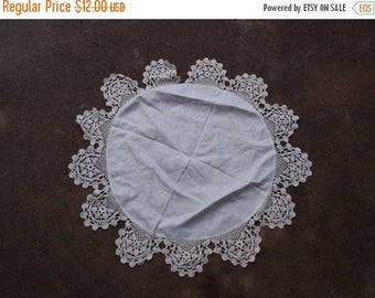 SALE SALE SALE Vintage Doily Crocheted Round White Linen Table Topper Home Decor Wedding