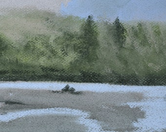 Low River Tide - Original Painting by Jamies Art 5x7