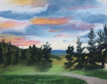 The Road in Malott - Original Pastel Drawing by Jamie's Art 5x5