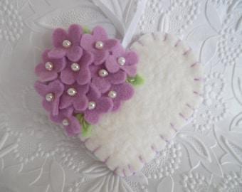 Valentines Day Ornament felt Flower Heart Purple Beaded Primitive
