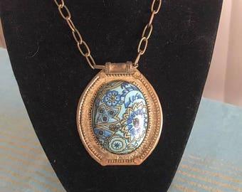 Vintage Modernist Artisan Brass Pendant Necklace -- 1960's 1970's