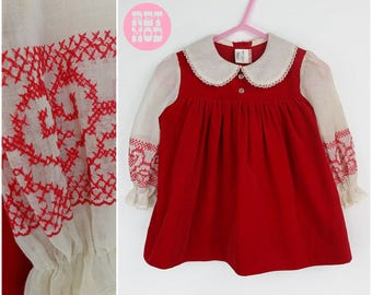 CHILD SIZE - Vintage 70s Fairytale Red Velvet Dress with White Sleeves and Peter Pan Collar with Embroidery! Sweet!