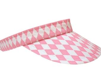 Pink Diamonds - Cool Pink & White Ladies Sports Fashion Visor Harlequin Argyle Cotton Pretty Tennis Golf - FREE USA Shipping - Small/MEDIUM