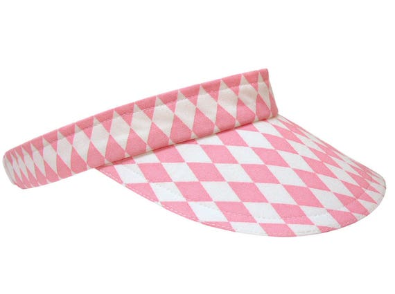 Pink Diamonds - Cool Pink & White Ladies Sports Fashion Visor Harlequin Argyle Cotton Pretty Tennis Golf - FREE USA Shipping - Small/MEDIUM