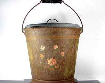 Vtg GALVANIZED WATER MILK Bucket Pail Splash Proof Insert Lid Ash Antique