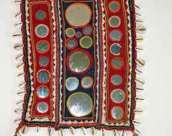 FREE SHIPPING! Vintage, India, Banjara, Hand Embroidered, Decorative Textile, Boho, Home Decor, Belly Dancing, Gypsy, Wall Hanging, Cowrie