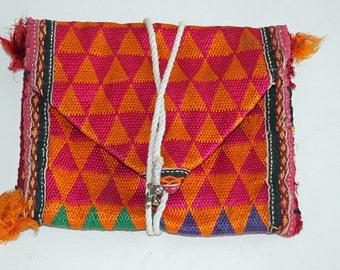 FREE SHIPPING!! Small Vintage, India, Zills, Dowry Bag, Hand Embroidered, Wedding, Banjara, Gypsy, Belly Dancing, Boho, Ethnic, Bedouin