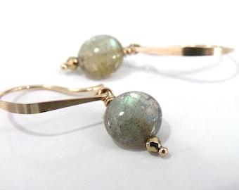 Labradorite Earrings, Green Gray Labradorite Earrings, Gold Earrings, Green Gemstone Earrings, AAAA Gemstone Earrings -Faerie Fire