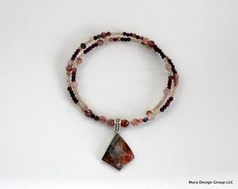 choker, beaded, modern,wrap style garnet necklace