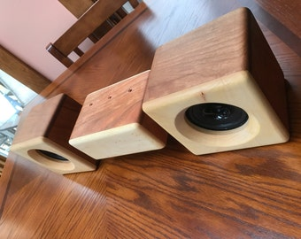 Beautiful Bluetooth Bookshelf speaker system made from Cherry and Maple woods.