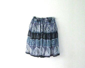 SALE Vintage 80s India shorts skirt / Bohemian Floral festival gauze skirt / Hippie shorts skirt / sm-xl waist up to 40