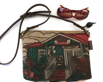 MTO Custom. Hibiscus and Repurposed Kauai Coffee Sack Crossbody Bag. Handmade in Hawaii by Manila Extract.