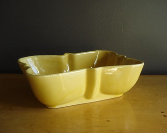 Happy Yellow Planter - Vintage Shallow Pottery Planter or Bowl