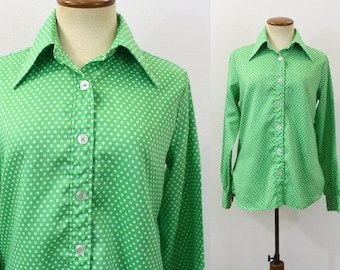 1970s Blouse Button Up Shirt Green Polka Dot Vintage 70s Secretary Top Long Sleeve Collar Retro Work Day Office Preppy Women's Medium M