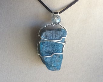 Wire Wrapped Blue Apatite Crystal Pendant