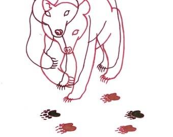 minimalist ink print: dos osos