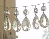 """10 Vintage Glass Tear Drop Pendants Prisms Chandelier Crystals LAMP PARTS 1.5""""L"""