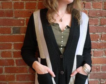 100% cashmere boyfriend cardigan-black, lavender, & grey -patchwork sweater-recycled cardigan-cozy soft sweater art-eco clothing-size medium