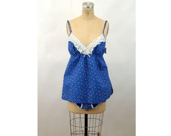 1960s baby doll nightgown pajama set bikini bottoms blue calico empire waist Size M New Old Stock NOS