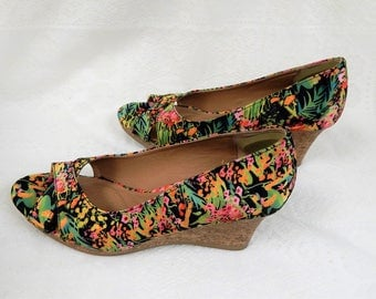 Dexter Dex-Flex Comfort Multi Floral Wedge Heel Open Toe Shoe Size 7.5