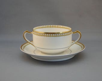 Beautiful Haviland & Co. Double Handle Cream Soup with Plate made in Limoges, France
