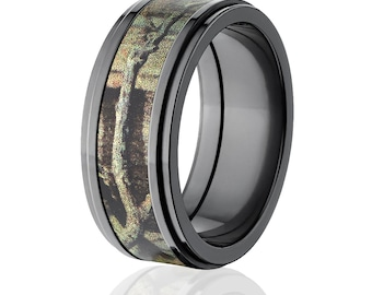 New Black Zirconium 9mm BUI Licensed Mossy Oak Camo Ring Camo Wedding Ring Black Zirconium Mossy Oak Wedding Band :BZ-9RC-BUI
