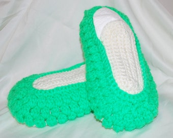 Crochet Slippers Green Off White Christmas Handmade Ready to Ship Mother Grandmother Booties House Shoes Birthday Cold Feet