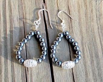 Hematite and Silver Loop Earrings