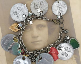 boomers~tag bracelet, found tags, charm bracelet, vintage tags, heart charms, reclaimed jewelry, assemblage jewelry, repurposed jewelry